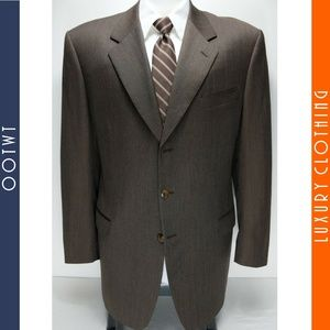 CANALI Milano 44L Brown Striped Suit Jacket Blazer